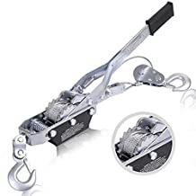 Super buy 4 Ton 8000lb Come Along Hoist Ratchet Hand Cable Winch Puller Crane 2 Hook by Super buy