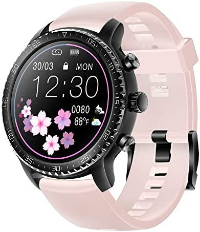 Tinwoo Smart Watch for Android / iOS Phones, Support Wireless Charging, Bluetooth Health Tracker with Heart Rate Monitor, Digital Smartwatch for Women,(TPU Band Pink)