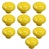 10 Pcs 33mm Small Ceramic Round Solid Color Pull Handles Kitchen Cabinet Cupboard Drawer Door Knobs Yellow