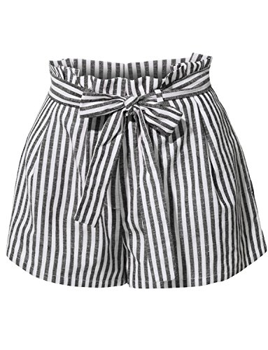 RK RUBY KARAT Womens Casual Linen High Waisted Striped Short Pants with Belt