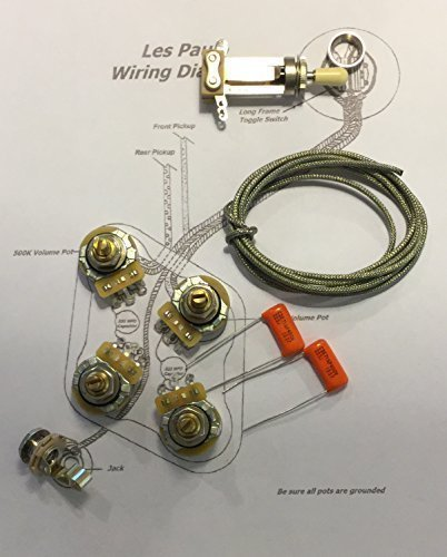The Art Of Tone Deluxe Standard Short Shaft Wiring Kit for Gibson Les Paul - CTS 500K Pots, .022uf/400v Orange Drop Caps (Pearly Gates Pickup Review)