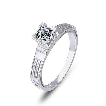 VJUKUBWINE Moda Diamante-Tachonado Mujer Anillo 925 Plata ...