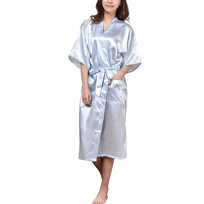 FY Mujeres Unisex Pareja Kimono Albornoz Cardigan Robe Bata de Baño Seda De Imitación Bathrobe Túnicas