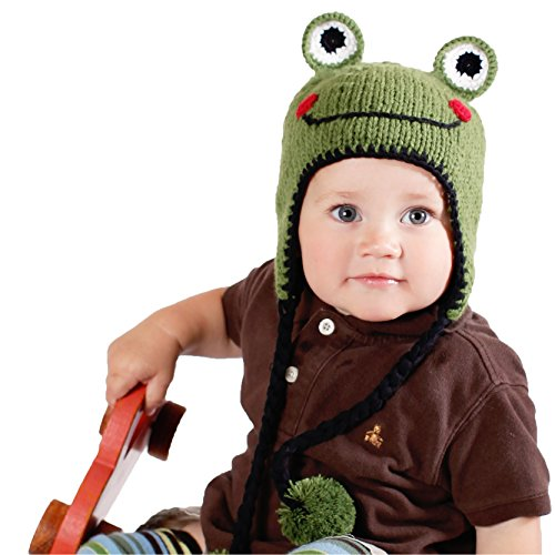 Huggalugs Baby and Toddler Boys or Girls Ribbit Frog Beanie Hat L -