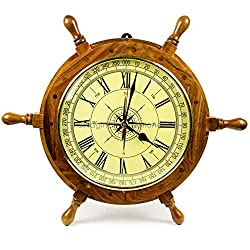 18 Nautical Hand Crafted Premium Ship Wheel Clock With Directional Pirate's Compass Dial Face | Home Decor Wall Clock Nursery Gifts & Collectibles | Nagina International