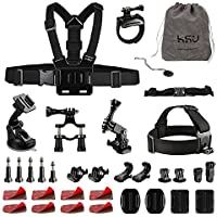 HSU Outdoor Sports Camera Accessory Kit for GoPro Hero 5/4/3+/3/2/1 Black Silver SJ4000 SJ5000 SJ6000, Accessories for Action Cameras Xiaomi Yi Lightdow AKASO DBPOWER and More.(20 Items) (34items)