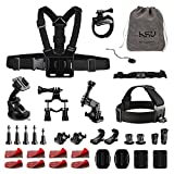 Accessory Bundle Kit for GoPro Hero 2018 Hero 6 Black, Hero 5 Black,Session,4,3,3+,2,1 AKASO SJCAM DBPOWER Xiaomi Sports Action Camera(34-in-1)
