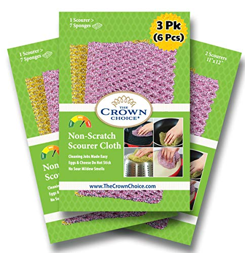 The Crown Choice Non-Scratch Heavy Duty Scouring Pad or Pot Scrubber Pads (6 PCs)   for Scouring Kitchen, Dishwashing, Cleaning   Nylon Mesh Scrubbing Scrubbies   Scrub Pads Cloth Outlast Any Sponges