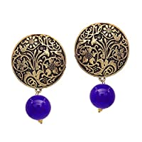 V L IMPEX Gold Plated Handmade Art Work Coin Style Stud With Black Beads Earrings