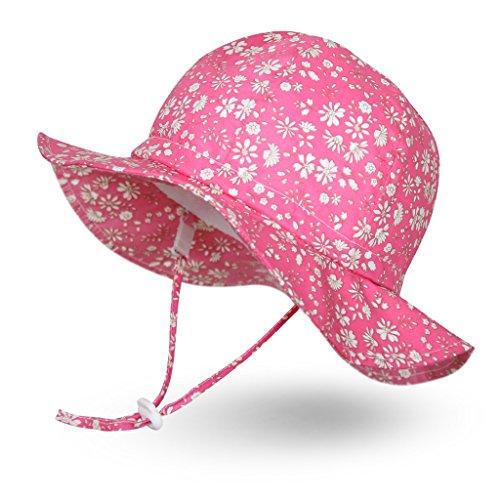 (Ami&Li tots Unisex Child Adjustable Wide Brim Sun Protection Hat UPF 50 Sunhat for Baby Girl Boy Infant Kids Toddler - L: Floweret Pink)