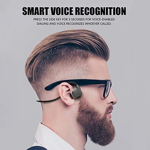 OKCSC R9 Bone Conduction Earphone,Bluetooth 5.0 Headset,Binaural Wireless Earphone Bone Sensor Hanging Ear IPX5 Waterproof on Ear Headphone(Black)