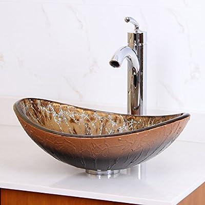 ELITE Unique Oval Artistic Bronze Tempered Bathroom Glass Vessel Sink & Chrome Single Lever Faucet