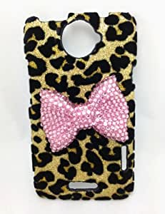Bling Shiny 3D Pink BOW Leopard Key Case Cover For HTC One X /Endeavor /Supreme (Pink Bow)