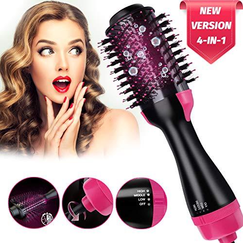 Hot Air Brush 4 IN 1 Hair Dryer Brush,Electric One Step Hair Dryer & Volumizer & Styler,Salon Hair Straightener Static Suitable for All hair Anti-Scald