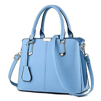 Prime Day Deals Week Clearance Sale-Pahajim women handbags PU leather top handle satchel tote purse shoulder bags (light blue)
