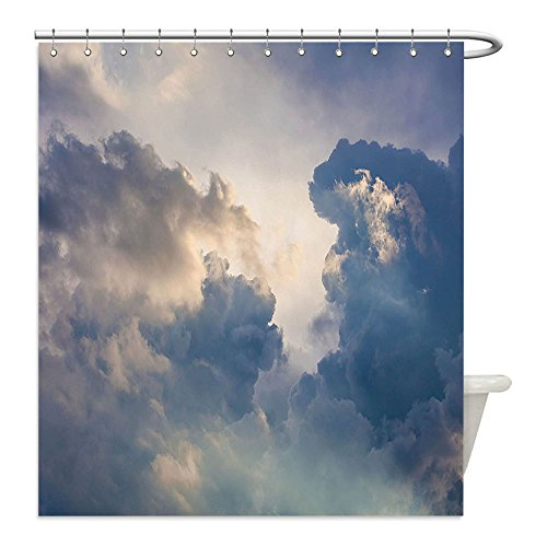 Liguo88 Custom Waterproof Bathroom Shower Curtain Polyester Grey Decor Majestic Rain Storm Clouds in the Sky High above the Ground Eco Scenery Art X Blue Grey and Ivory Decorative bathroom - Diy Storm Cloud Costume