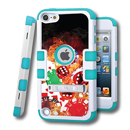 iPod touch 5 Case, CASECREATOR[TM] For Apple iPod touch 5 5G 5th GEN () -- TUFF Hybrid Rubber Hard Snap-on Case Natural Cream W/Tropical Teal-Cards Dice Chips