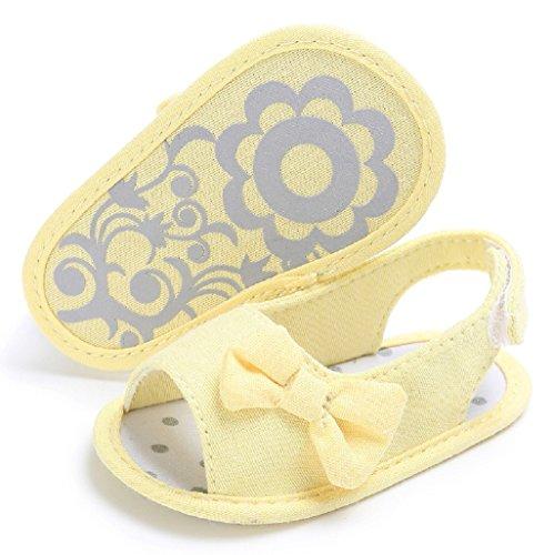 Bebé Prewalker Zapatos Auxma Princesa del bebé Verano Primera Walkers Zapatos Sandalias Zapatos para 0-6 6-12 12-18 meses Amarillo