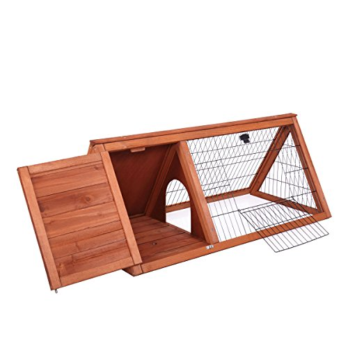 LAZYMOON Triangular Wooden Chicken Coop Bunny Rabbit Hutch Guinea Pig House with Outdoor Run