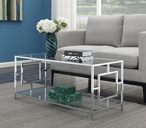 Convenience Concepts 135082 Coffee Table, Clear Glass/Chrome Frame (Table Glass Coffee Contemporary)