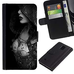 Planetar® Modelo colorido cuero carpeta tirón caso cubierta piel Holster Funda protección Para Samsung Galaxy Note 4 IV / SM-N910 ( Capucha Señora de mama Negro Blanco)