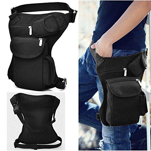 Black Canvas Drop Leg Bag Sports Racing Waist Bag Pack Outdoor Bag