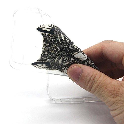 Ekakashop Mode TPU Silicone Souple Transparente Cover Case de Protection pour iPhone 6 Plus/6s Plus 5.5'', Cool Dessin Couleur imprimé Motif de Animaux Loup [Scratch-Resistant] [Perfect Fit] Crystal C