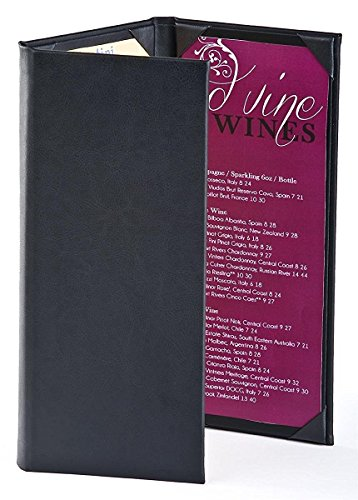 (15) Wine List Menu Covers with 3-Panel, 3-Page View Design, Hardback Bar Menu Presenters with Angled Corners, Black, Synthetic Leather - 5