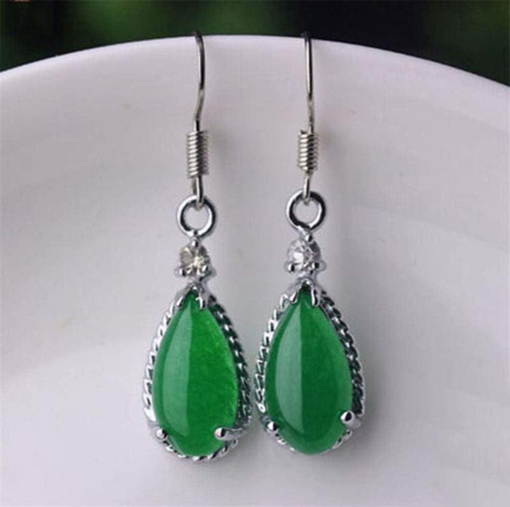 Aligeya Gotas de Agua Pendientes de Jade Pendientes de Jaspe Verde Pendientes de Plata 925