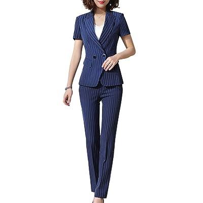 Women's Short Sleeve Single Button Striped Office Business Pantsuit Set Elegant 2 Pieces Work Blazer&Pants: Clothing