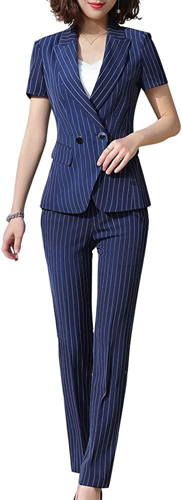 SUSIELADY Women's Formal Two Pieces Stripe Office Lady Business Work Suits Short Sleeve Women Blazers for Work