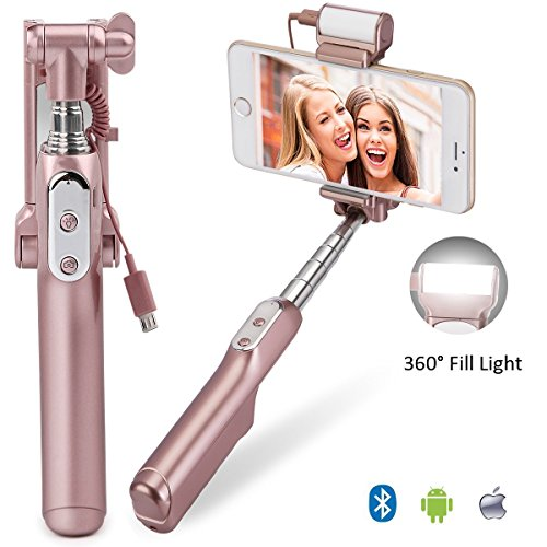 Selfie Stick, MOCREO Bluetooth Selfie Stick with 360 Degree Led Fill Light and Mirror, for iPhones, Samsung Galaxy s7 edge/s4 Android System Phones (Rose Gold)