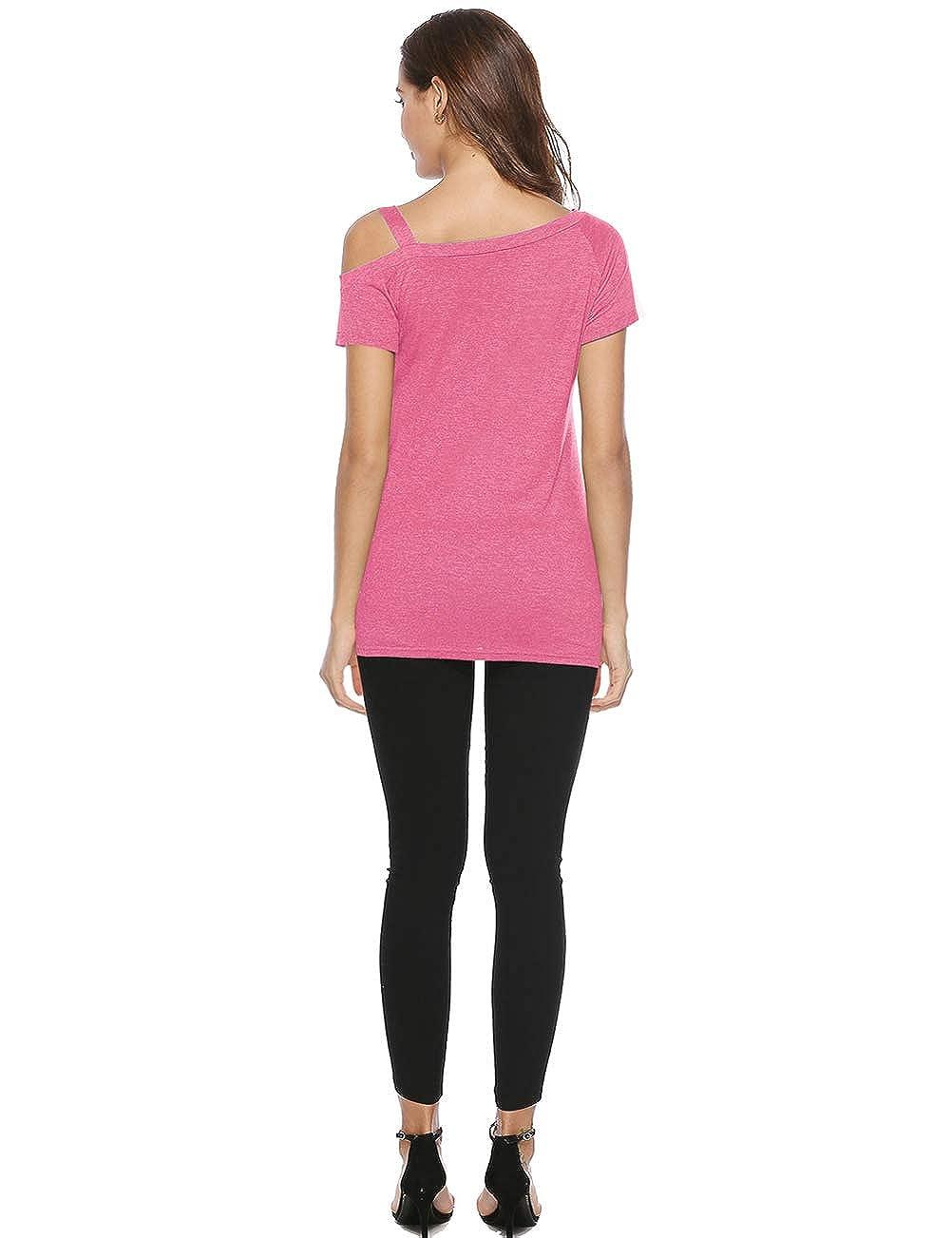Dico Women Tops Short Sleeve T-Shirt Summer Tees Cotton Shirts Off Shoulder