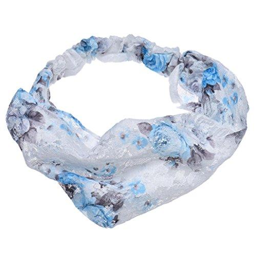 Voberry Women Fashion Fabric Lace Wide Stretch Headband Headwrap (Blue)