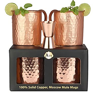 Premium Moscow Mule Copper Unlined Gift Pack Mug, 100 % Pure Solid Copper (16-Ounce, Hammered, Set of 2) with FREE Copper Jigger