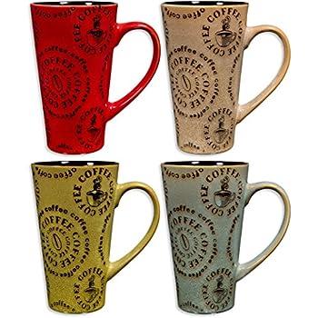 colorful tasty ceramic coffee mug with handle u2013 set of 4 high quality ceramic tea cups set tall ceramic latte mugs set round words