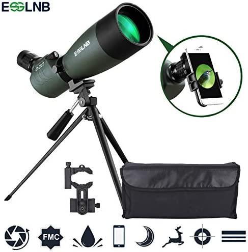 ESSLNB Spotting Scope with Tripod Phone Adapter BAK4 Prism 25-75 X 70 Angled Waterproof Spotting Scopes for Target Shooting Bird Watching Hunting