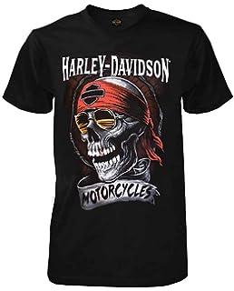 159fba5d Harley-Davidson Men's Distressed Shady Skull Short Sleeve T-Shirt, Solid  Black