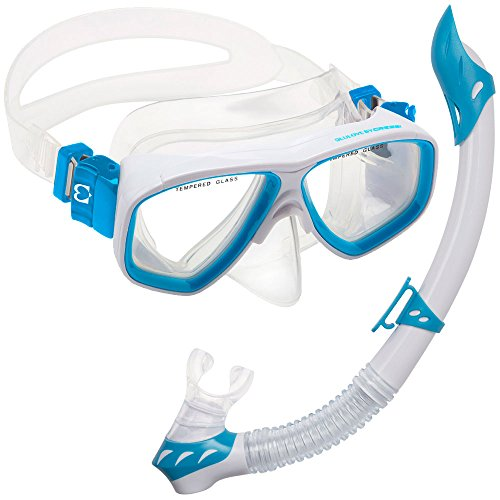 Cressi DELUXE, Kids Youth Mask Snorkel Set, White / Light Blue