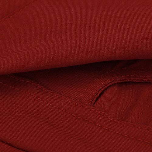Pantaloni Moda Pantaloni Slim magro skinny strappati elasticizzati donna Ningsun Donna Donne elastici Stretch A Vino vita Rosso Pantaloni da alta strappati a Pantaloni jeggings matita z81fqw