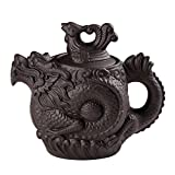 FINETU Chinese Traditional Yixing Purple Clay Teapot,KungFu Teapot with Dragon and Phoenix Styled and Big Capacity 550ML