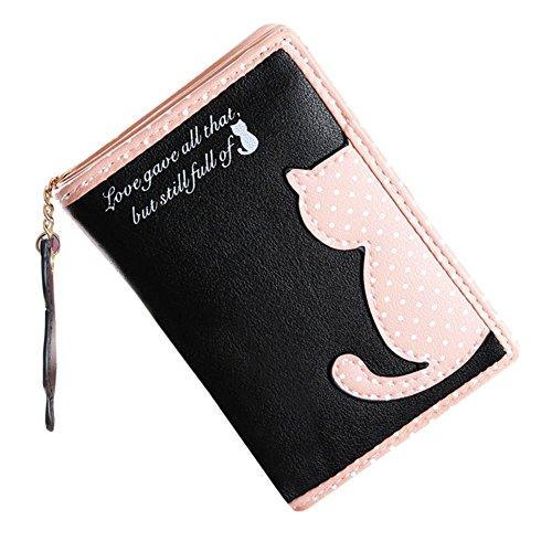 Hrph Cartera plegable de cuero de la PU del estilo del gato de dibujos animados lindo del monedero de la manera de las mujeres monedero Negro