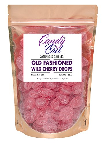 Cherry Hard Candy - Wild Cherry Drops 2 Pounds Old Fashioned Hard Candy in CandyOut Sealed Stand Up Bag
