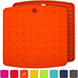 """: Premium Silicone Trivet Mats / Hot Pads, Pot Holders, Spoon Rest, Jar Opener & Coasters - Our 5 in 1 Kitchen Tool is Heat Resistant to 442 °F, Thick & Flexible (7"""" x 7"""", Fall Orange, Set of 2)"""