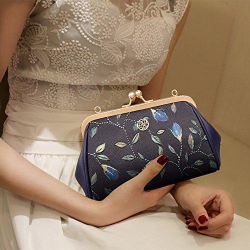 Mini-Schulter Ketten-Tasche, Clip-Tasche, geprägte Ledertasche, Beutel, Shell-Tasche, Clutch Bag