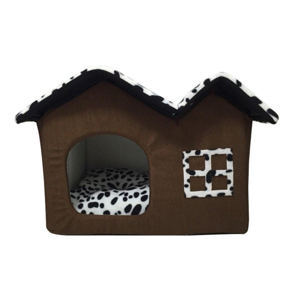 LA VIE Casa Adorable para Mascotas Plegable Extraíble con Tejado Doble Caseta de Perro Cama Nido Cómoda y Suave para Gatos Perros Pequeños Animales Pequeños ...