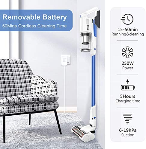 Cordless Vacuum Cleaner, Aucma via whall 3 Suction Modes 250W Brushless Motor Cordless Stick Vacuum Cleaner as much as 50 minutes Runtime 4 in 1 Lightweight Handheld Vacuum for Home Hard Floor Carpet Pet Hair
