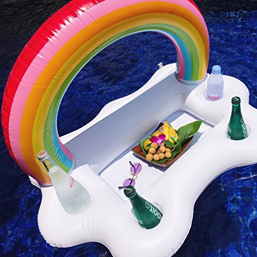 Sailboat Drink Holders - Labu Store White Clouds Float Inflatable Rainbow Drink Holder Swimming Pool Bathroom Beach Party Kids Bath