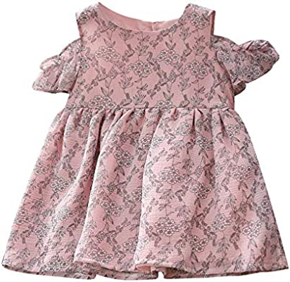 Fashionable Solid Color Lace Off Shoulder Infant Baby Girls Princess Dress ry