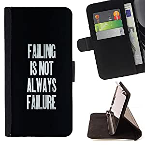 BullDog Case - FOR/Sony Xperia Z1 L39 / - / failing success inspirational text black /- Monedero de cuero de la PU Llevar cubierta de la caja con el ID Credit Card Slots Flip funda de cuer
